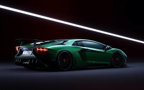 Картинка Lamborghini, Green, Aventador, Artwork, CGI, Aventador SV