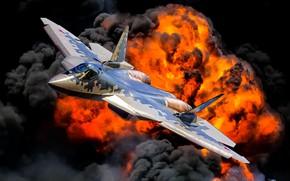Картинка взрыв, огонь, пламя, многоцелевой истребитель, ВКС России, истребитель пятого поколения, Су-57, Su-57