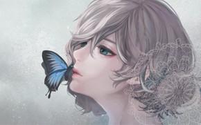 Картинка девушка, бабочка, кружева