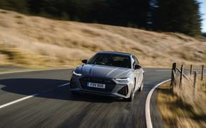Картинка дорога, Audi, забор, скорость, универсал, RS 6, 2020, 2019, V8 Twin-Turbo, RS6 Avant, UK-version