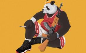 Картинка оружие, медведь, сигарета, автомат, BEARS AROUND US