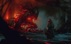 Картинка Ночь, Существо, Человек, Лес, Монстр, Демон, Fantasy, Art, Фантастика, Дьявол, Bloodborne, ömer tunç, by Omer …
