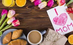 Картинка цветы, кофе, завтрак, colorful, тюльпаны, flowers, tulips, coffee cup, spring, круассаны, breakfast, croissants, mother's day