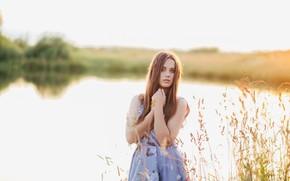 Картинка взгляд, девушка, поза, река, портрет, боке, Сергей Чмыхов
