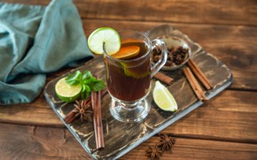 Картинка лайм, цитрус, Чай