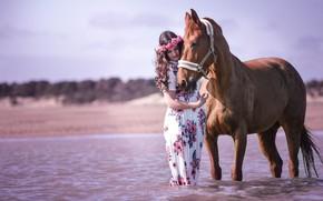 Картинка небо, взгляд, морда, девушка, свет, цветы, природа, поза, река, друг, настроение, конь, берег, лошадь, платье, …