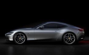Картинка фон, Ferrari, сбоку, тёмный, Roma, 2020