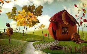 Картинка пейзаж, сказка, домик, миниатюра