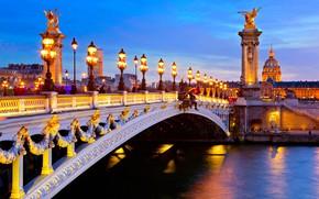 Картинка город, река, Франция, Париж, дома, вечер, освещение, фонари, Сена, колонны, мост Александра III