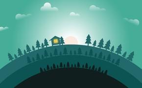 Картинка Солнце, Минимализм, Лес, Дом, Рассвет, Landscape, Ёлки, Concept Art, Environments, Naughty Natesan, Circle animation world, …