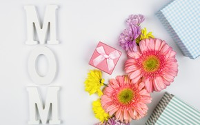 Картинка цветы, подарки, День Матери