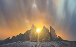 Картинка небо, солнце, пейзаж, горы, природа, красота
