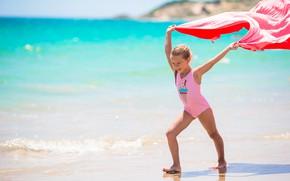 Картинка море, лето, радость, ветер, девочка