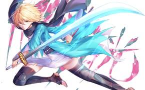 Картинка девушка, оружие, бой, Fate