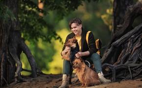 Картинка собаки, деревья, улыбка, мальчик, парень, Анастасия Бармина
