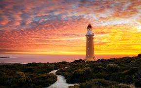 Картинка sky, sea, landscape, nature, sunset, clouds, Australia, horizon, plants, lighthouse, long exposure, The Cape du …
