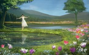 Картинка девушка, цветы, луг