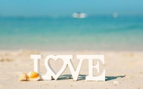 Картинка Love, буквы, пляж, море, Солнце