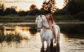 Картинка река, конь, лошадь, наездница, Сергей Рыбин