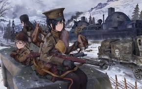 Картинка зима, оружие, девушки, солдаты, танк