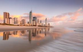 Картинка ocean, sunrise, australia, Gold Coast, brisbane, City beach