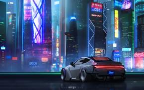 Обои Авто, Ночь, Город, Неон, Машина, City, Art, Neon, Concept art, Concept Art, Cyberpunk 2077, Cyberpunk, ...