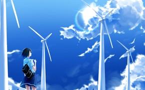 Картинка небо, девушка, облака, ветрогенераторы