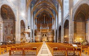 Картинка Франция, интерьер, орган, хор, неф, Organ, Diliff, Choir, Альби, Nave, Region Midi-Pyrénées, Province of Tolouse, …