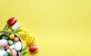 Картинка яйца, Пасха, тюльпаны, flowers, spring, easter