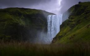 Картинка трава, горы, скалы, водопад, Исландия, боке