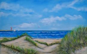 Картинка море, пейзаж, маяк, картина