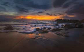 Картинка море, закат, побережье
