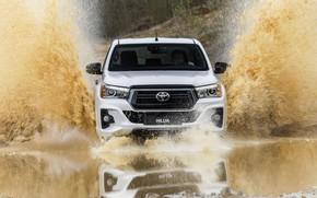 Картинка белый, вода, брызги, отражение, Toyota, пикап, Hilux, Special Edition, 2019