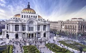 Картинка здание, площадь, Мексика, опера, музей, кусты, Мехико, дворец изящных искусств