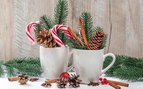 Картинка ветки, елка, Рождество, конфеты, чашки, Новый год, корица, шишки