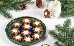Картинка ветки, свечи, печенье, Рождество, Новый год, хвоя, шишки
