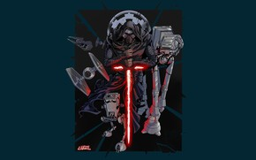 Картинка Star Wars, Dark Side, Art, Jedi, AT-AT, Sith, Minimalism, Kylo Ren, AT-ST, TIE Fighter, Galactic …