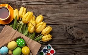 Картинка цветы, flowers, eggs, yellow, букет, happy, tulips, тюльпаны, Пасха, яйца, Easter, wood, colorful, желтые, decoration