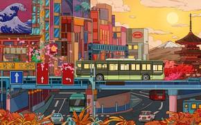 Картинка Солнце, Город, Стиль, City, Автобус, Fantasy, Архитектура, Арт, Cars, Art, Style, Illustration, Транспорт, Иллюстрация, Transport …