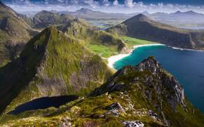 Картинка море, солнце, облака, горы, камни, скалы, побережье, Норвегия, панорама, залив, вид сверху, Лофотенские острова, Lofoten, …