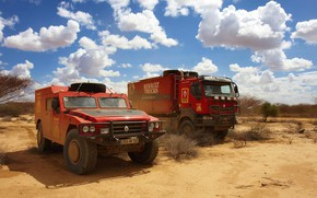 Картинка небо, облака, растительность, пустыня, внедорожник, грузовик, стоянка, красные, Renault, Sherpa, Renault Trucks, Kerax