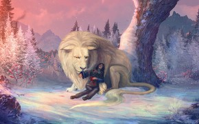 Картинка человек, лев, рана
