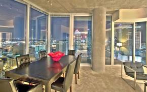 Картинка комната, интерьер, пентхаус, мегаполис, столовая