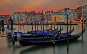 Картинка огни, Италия, Венеция, гондола