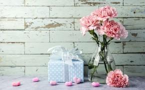 Картинка цветы, flowers, подарок, carnation, hearts, сердечки, gift, romantic, pink, love, розовые, beautiful, гвоздики