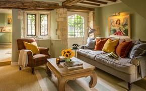 Картинка стиль, ретро, интерьер, гостиная, Burford, cottage in Cotswolds