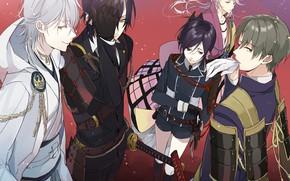 Картинка меч, аниме, арт, парни, персонажи, Touken ranbu, Танец Мечей