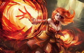 Картинка Девушка, Огонь, Стиль, Girl, Магия, Пламя, Fire, Арт, Art, Flame, Assassin, Рыжая, Style, Фантастика, Fiction, …