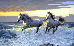Картинка море, вода, брызги, берег, рисунок, кони, картина, лошади, арт, бег, пара, белые, живопись, водоем, скакуны, …