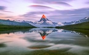Картинка небо, облака, свет, горы, озеро, утро, Альпы, вершина, Маттерхорн, Пеннинские Альпы